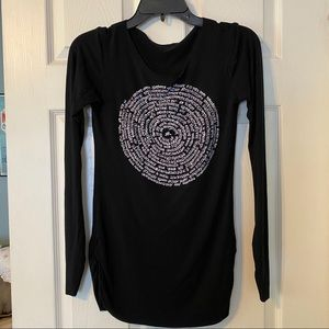 Ancient Language Black Long Sleeve Graphic Top